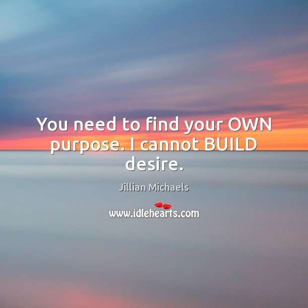 You need to find your OWN purpose. I cannot BUILD desire. Jillian Michaels Picture Quote