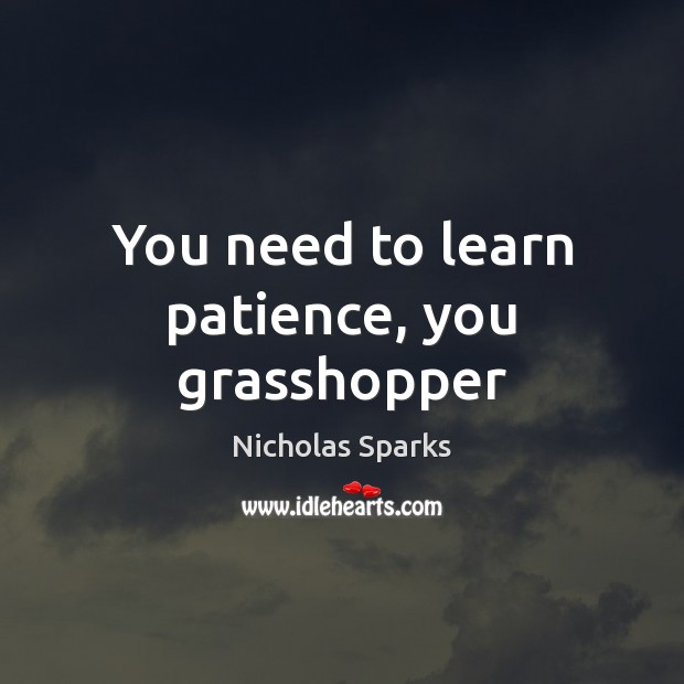 You need to learn patience, you grasshopper Image