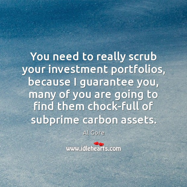 You need to really scrub your investment portfolios, because I guarantee you, Al Gore Picture Quote
