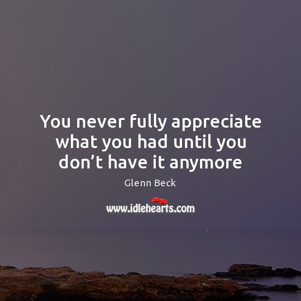 You never fully appreciate what you had until you don't have it anymore Glenn Beck Picture Quote