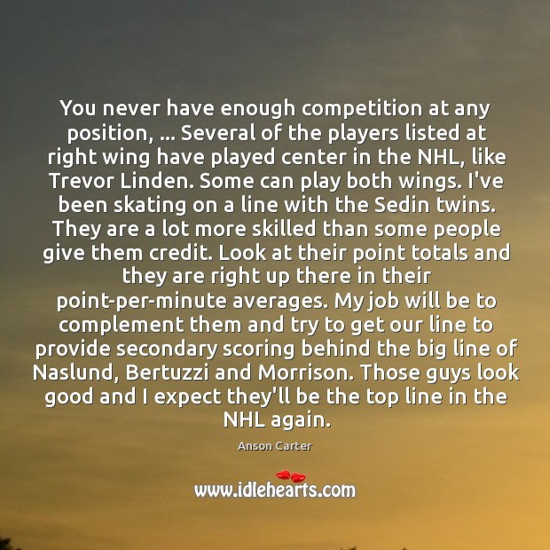 Image, You never have enough competition at any position, … Several of the players