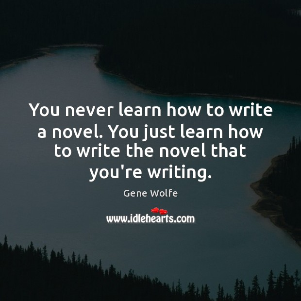 Image, You never learn how to write a novel. You just learn how
