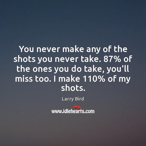 You never make any of the shots you never take. 87% of the Larry Bird Picture Quote