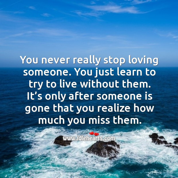 You Never Really Stop Loving You Learn To Live Without Them Idlehearts