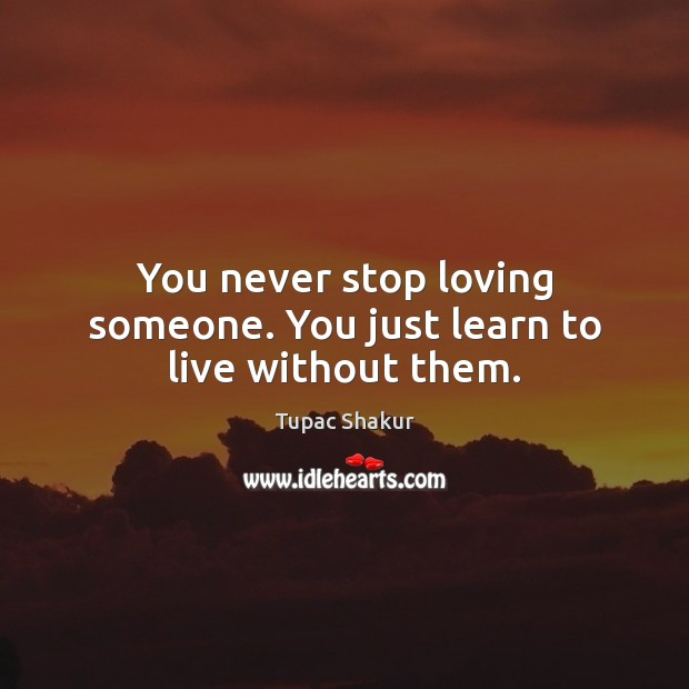 You never stop loving someone. You just learn to live without them. Image