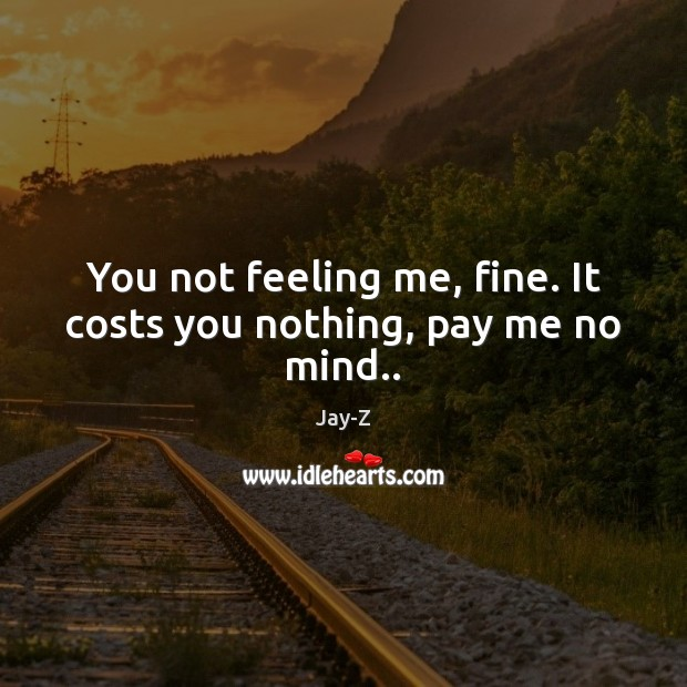 You not feeling me, fine. It costs you nothing, pay me no mind.. Jay-Z Picture Quote