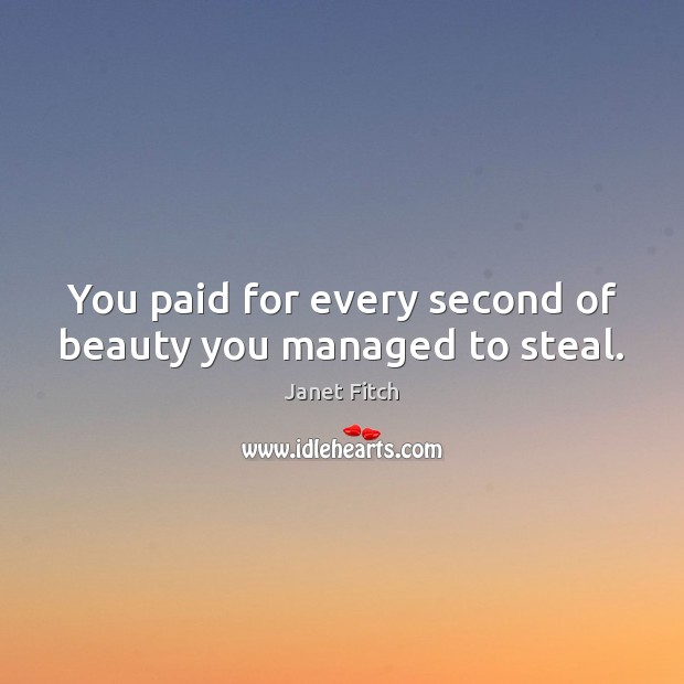 You paid for every second of beauty you managed to steal. Janet Fitch Picture Quote