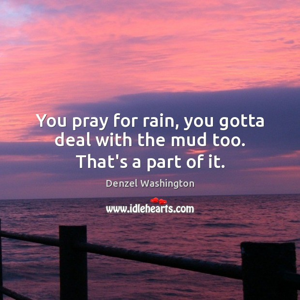 You pray for rain, you gotta deal with the mud too. That's a part of it. Denzel Washington Picture Quote