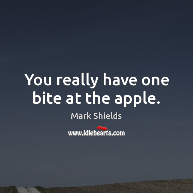 You really have one bite at the apple. Mark Shields Picture Quote