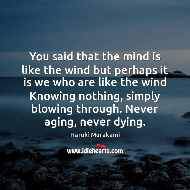 You said that the mind is like the wind but perhaps it Image
