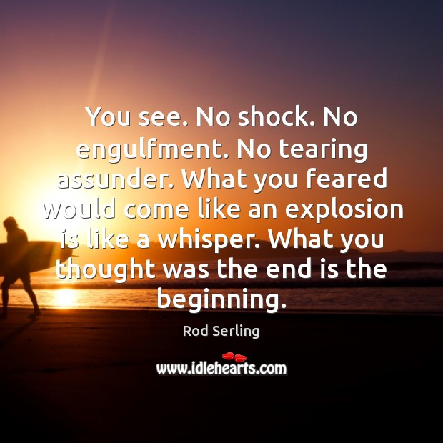 You see. No shock. No engulfment. No tearing assunder. What you feared Rod Serling Picture Quote