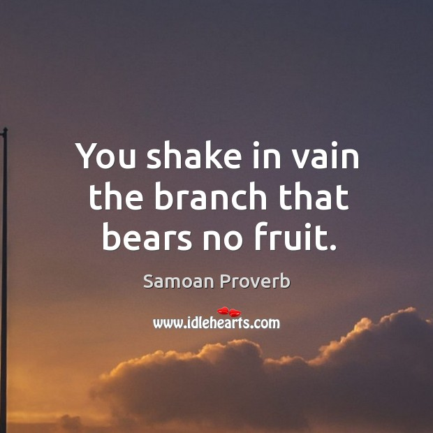 You shake in vain the branch that bears no fruit. Samoan Proverbs Image