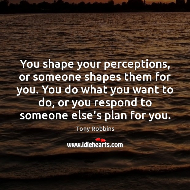 Image, You shape your perceptions, or someone shapes them for you. You do