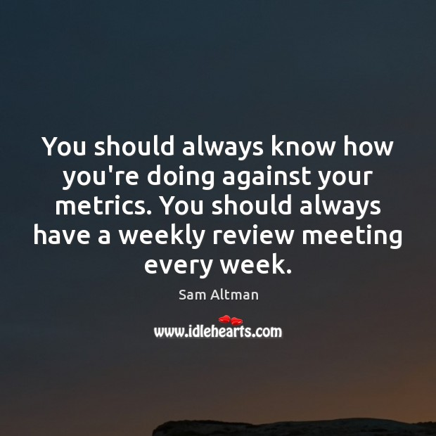 Image, You should always know how you're doing against your metrics. You should