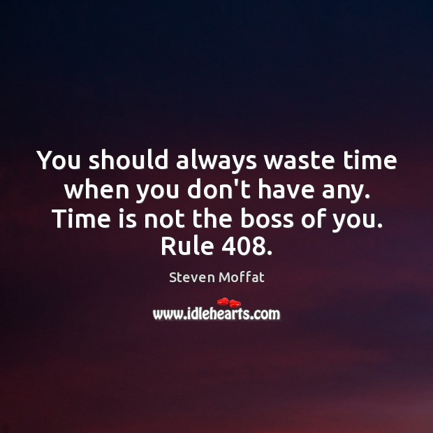 You should always waste time when you don't have any. Time is Steven Moffat Picture Quote