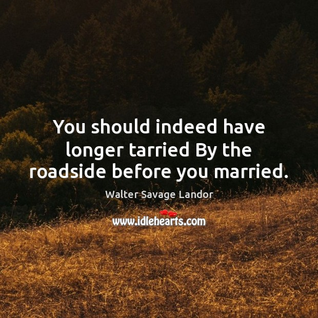 Image, You should indeed have longer tarried By the roadside before you married.