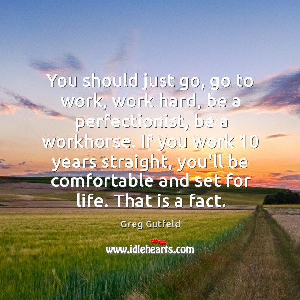 You should just go, go to work, work hard, be a perfectionist, Image