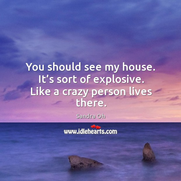 You should see my house. It's sort of explosive. Like a crazy person lives there. Sandra Oh Picture Quote