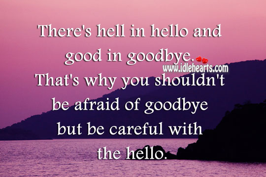 You shouldn't be afraid of goodbye but be careful with the hello. Goodbye Quotes Image