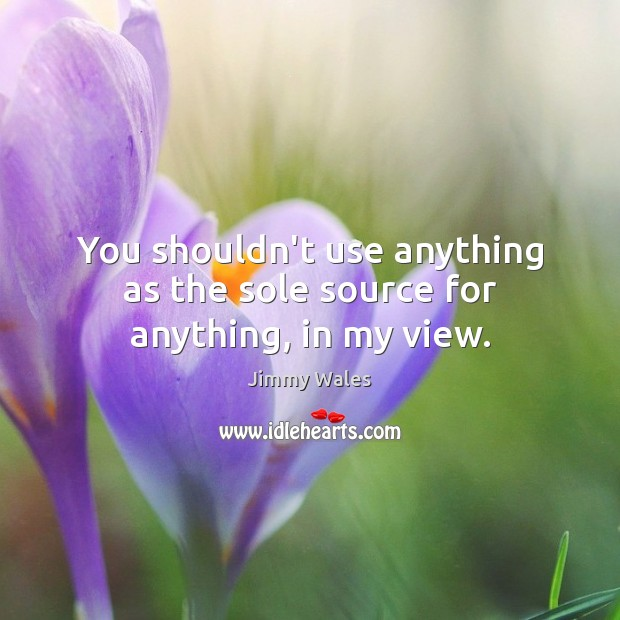 You shouldn't use anything as the sole source for anything, in my view. Jimmy Wales Picture Quote