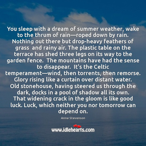 Image, You sleep with a dream of summer weather, wake to the thrum