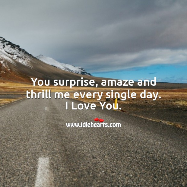 You surprise, amaze and thrill me every single day. I Love You. Love Quotes for Her Image