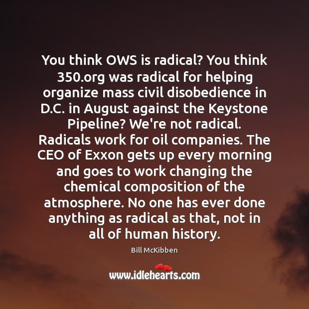 You think OWS is radical? You think 350.org was radical for helping Bill McKibben Picture Quote