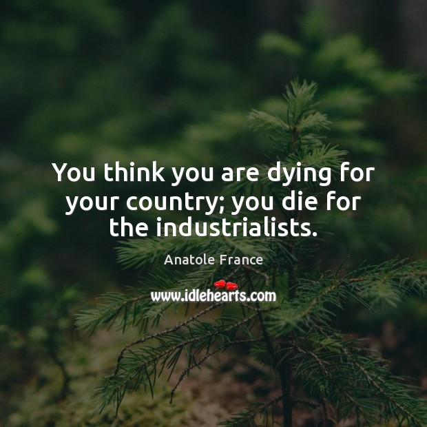 You think you are dying for your country; you die for the industrialists. Anatole France Picture Quote