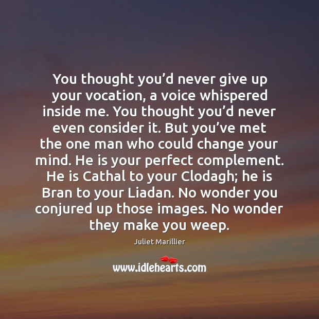 You thought you'd never give up your vocation, a voice whispered Never Give Up Quotes Image