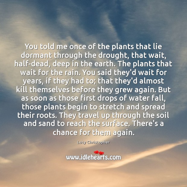 You told me once of the plants that lie dormant through the Image