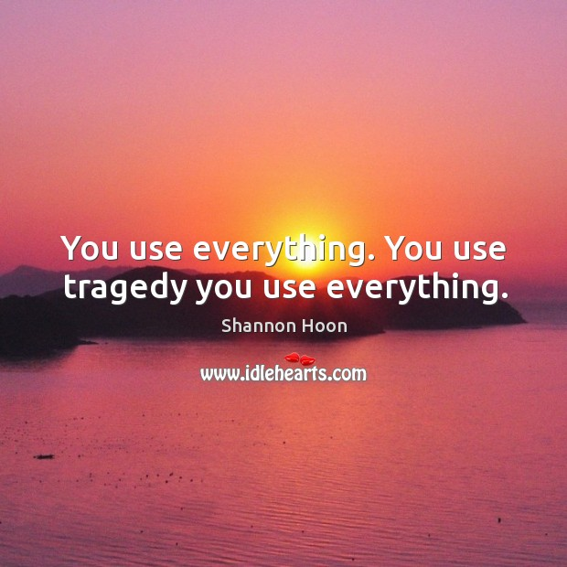 You use everything. You use tragedy you use everything. Shannon Hoon Picture Quote