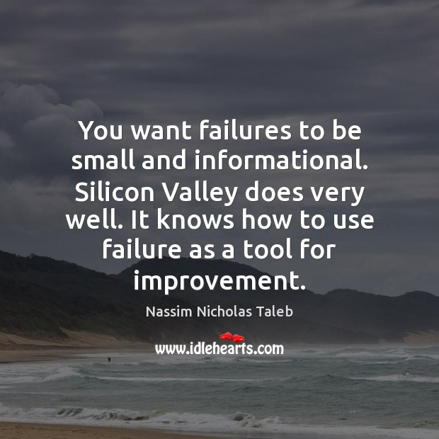 You want failures to be small and informational. Silicon Valley does very Nassim Nicholas Taleb Picture Quote