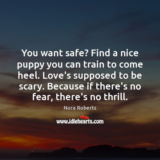 You want safe? Find a nice puppy you can train to come Nora Roberts Picture Quote