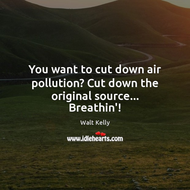 You want to cut down air pollution? Cut down the original source… Breathin'! Walt Kelly Picture Quote