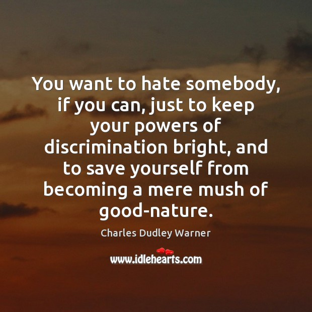 You want to hate somebody, if you can, just to keep your Charles Dudley Warner Picture Quote
