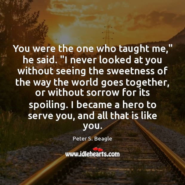 "Peter S. Beagle Picture Quote image saying: You were the one who taught me,"" he said. ""I never looked"