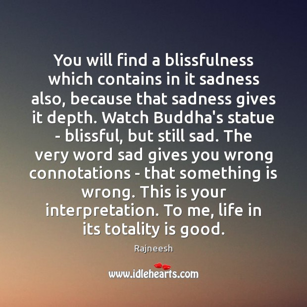 You will find a blissfulness which contains in it sadness also, because Image