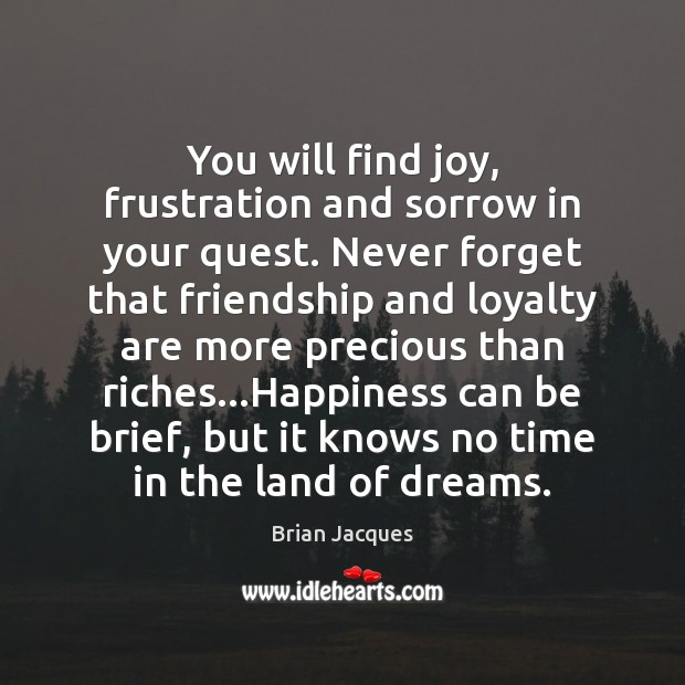 You will find joy, frustration and sorrow in your quest. Never forget Brian Jacques Picture Quote