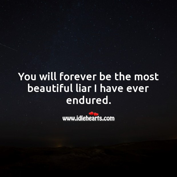 You will forever be the most beautiful liar I have ever endured. Sad Quotes Image