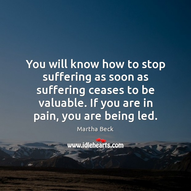 Image, You will know how to stop suffering as soon as suffering ceases