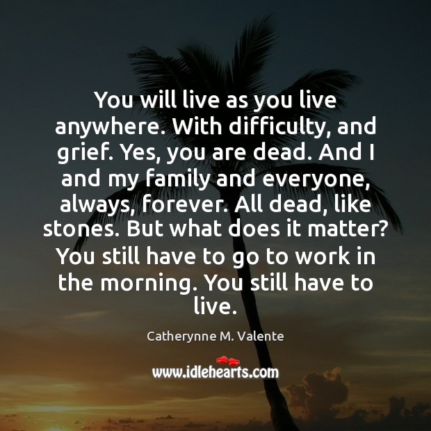 You will live as you live anywhere. With difficulty, and grief. Yes, Catherynne M. Valente Picture Quote