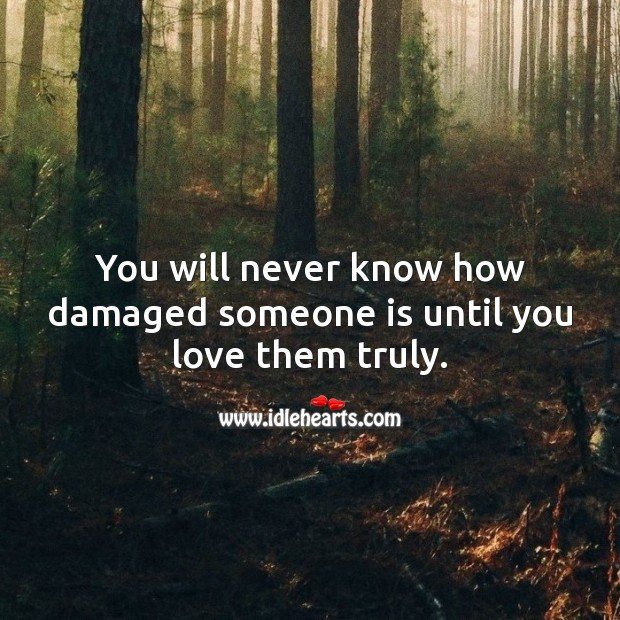 You will never know how damaged someone is until you love them truly. Sad Love Quotes Image