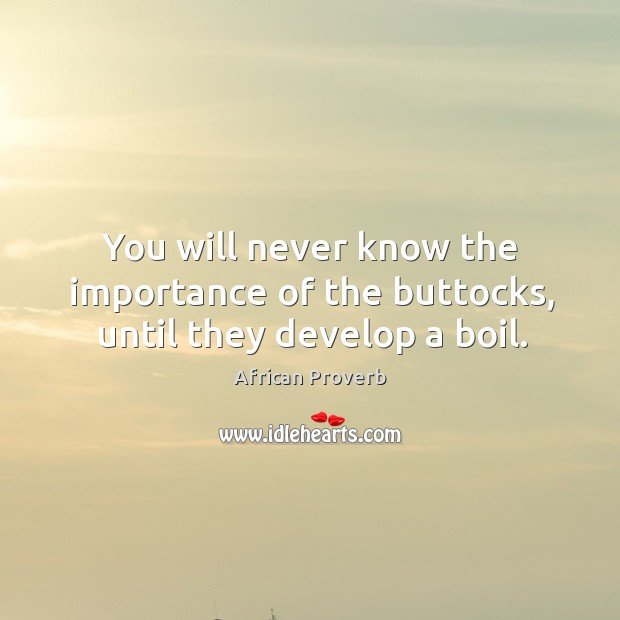 Image, You will never know the importance of the buttocks, until they develop a boil.
