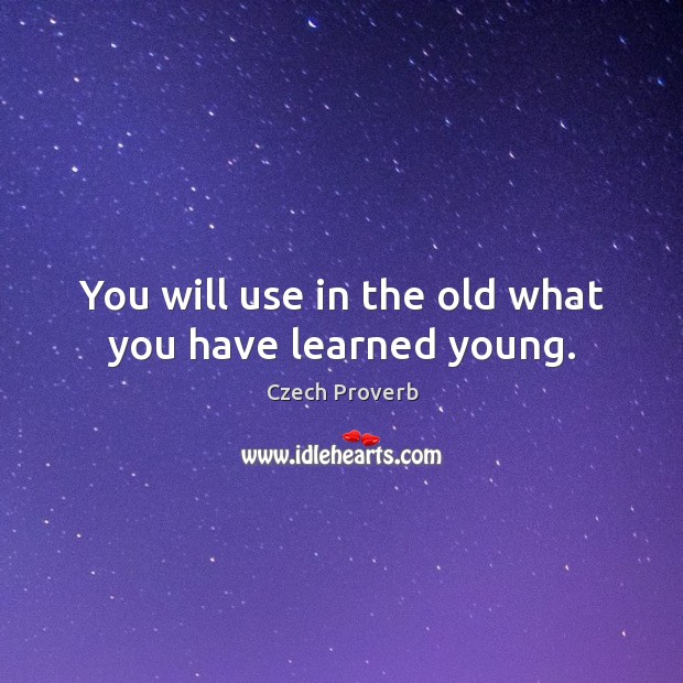You will use in the old what you have learned young. Czech Proverbs Image