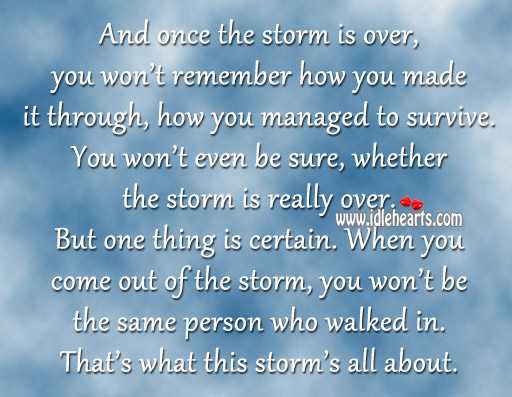 Once The Storm Is Over, You Won't Remember How You Made It Through