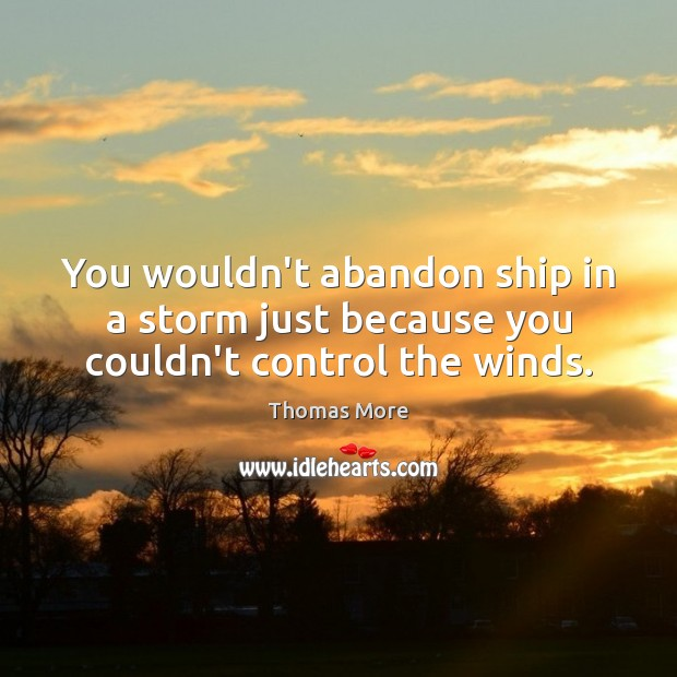 You wouldn't abandon ship in a storm just because you couldn't control the winds. Thomas More Picture Quote