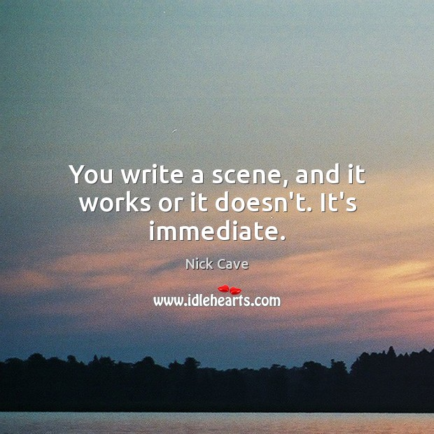 You write a scene, and it works or it doesn't. It's immediate. Nick Cave Picture Quote