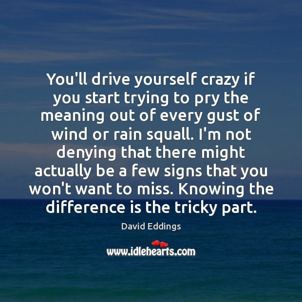 You'll drive yourself crazy if you start trying to pry the meaning David Eddings Picture Quote
