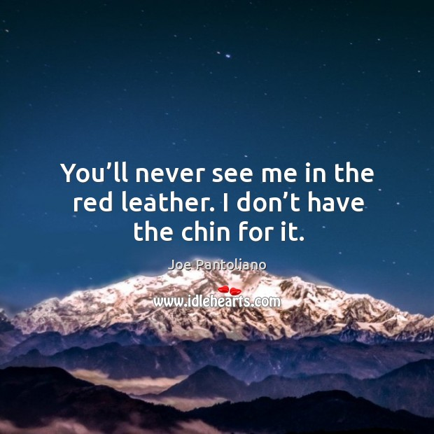 You'll never see me in the red leather. I don't have the chin for it. Image