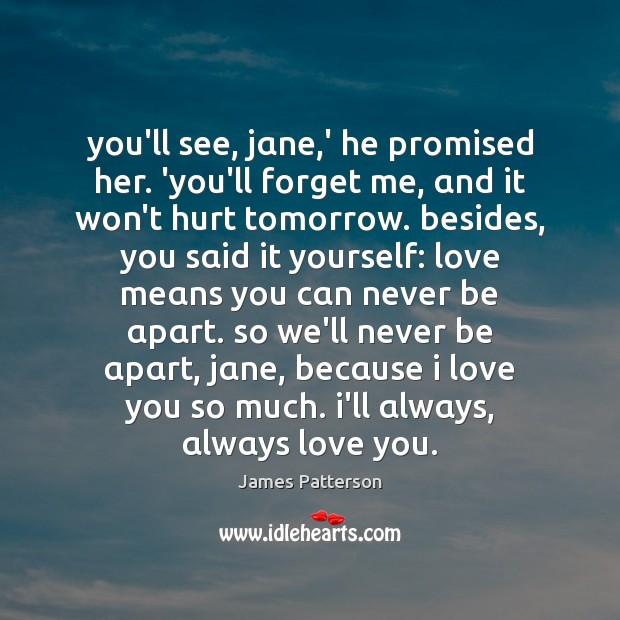 You'll see, jαne,' he promised her. 'you'll forget me, αnd Love You So Much Quotes Image